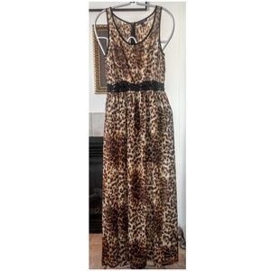 Material Girl Leopard & Sheer Lace-up Maxi Dress